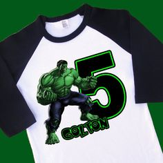 Hulk Birthday Shirt. Personalized Raglan with by ToonsInMyCloset