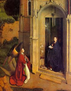 Studio of JAN VAN EYCK, active 1422 - 1441: The Annunciation. Tempera and oil on panel, 77'5 x 64'4.