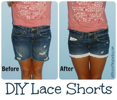 DIY Lace Shorts Might do this to the big girls shorts to lengthen them a bit