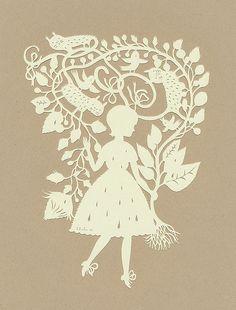Rain Girl :) (papercut) by Elsita (Elsa Mora),