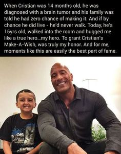 The Rock Really Rocks. Celebrities who use their fame like this are really good people.