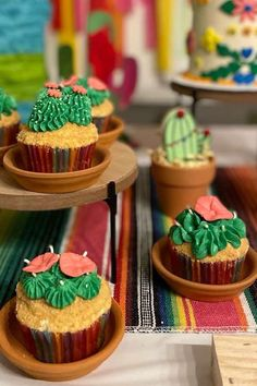 Take a look at this colorful Cinco de Mayo fiesta! The cactus cupcakes are awesome! See more party ideas and share yours at CatchMyParty.com First Birthday Themes, Girl Birthday, First Birthdays, Fiesta Cake, Fiesta Party, Vanilla Cupcakes, Chocolate Cupcakes, Cactus Cupcakes, Cupcake Images