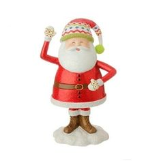 """7.5"""" Merry & Bright Glitter Drenched Jolly Santa Claus Christmas Figure Decoration 