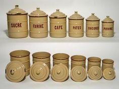 Vintage Belgian Enamelware Beige and Brown Enamel Canister Set, 6 pcs, Stamped. 229.