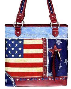 Montana West~American Pride Handbag Tote~Stars~Stud~Feather Charm~Conceal Gun~RD #MontanaWest #HandbagTote
