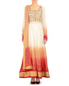 Ombre Peach and Red Anarkali Suit with Printed Hem - $327