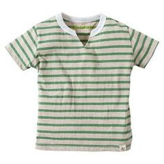 Toddler Boys' Stripe V-Neck T-Shirt - Green Grass  - Burt's Bees Baby
