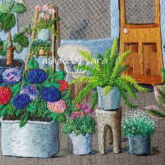 @saramoon1211 #embroiderydesign #embroideryhoop #cafe #flower #dmcthreads #stitch #nakış #handcraft #summer #손자수 #꽃자수 #프랑스자수 #스티치 #자수타그램
