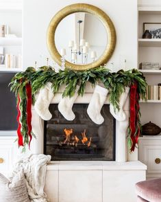My Home Decorated for Christmas. - Pink Peonies by Rach Parcell Decoration Christmas, Christmas Mantels, Christmas Balls, Christmas Home, Christmas Holidays, Christmas 2019, Vintage Christmas, Christmas Stockings, Christmas Ideas
