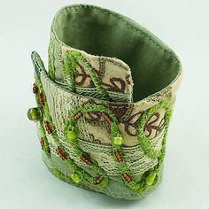 Fabric Cuff Bracelet Green Art Jewelry by FlowingReflections, $25.00