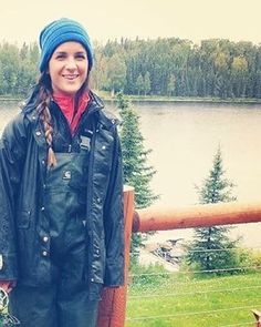 Lady wearing Carhartt PVC rain overalls and rain jacket Pvc Raincoat, Hooded Raincoat, Raincoats For Women, Jackets For Women, Nylons, Rain Suit, Rain Jacket Women, Rain Gear
