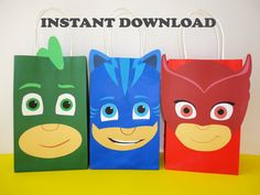 DIY PJ Masks/ Mask Party Favor Bags/ por CreativePartyStudio