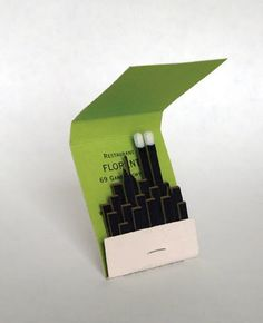 Tibor Kalman/ Florent matchbook: cool idea for a save the date, but with a Chicago Skyline.