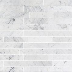 Brushed 2x8 Marble Tile - Stone Carrara Subway | TileBar.com Marble Subway Tiles, Marble Mosaic, Marble Floor, Tile Floor, Carrara Marble Bathroom, Gray Subway Tile Backsplash, Herringbone Backsplash, Wood Floor, Mosaic Tiles