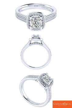 Simply amazing 14k White Gold Diamond Halo Engagement Ring by Gabriel and Co. Loving this classic princess cut diamond, check out more engagement styles at www.gabrielny.com