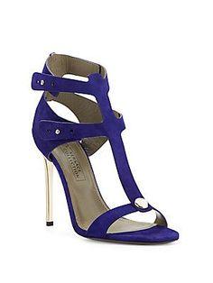 Versace Collection Metallic Heel Suede Sandals - Purple - Size 38 (8)