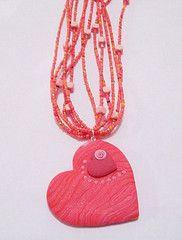 "Collar con Dije de Corazn con Corazn Coral (""creativARTE: Detalles en plastilina"") Tags: fimo clay detalles polymer plastilina creativarte"