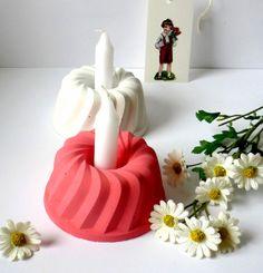 "Geburtstagskerzen - ""ma vie en rose""-Betonkuchen + Nostalgieanhänger // concrete cake, candle holder by Kunstgold via DaWanda"