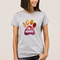 Dog Lover Gifts. Adopt. Dogs Paw Watercolor T-Shirt - watercolor gifts style unique ideas diy