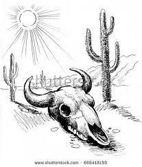 Image Result For Desert Drawing Desert Drawing Animal Drawings Skull Drawing