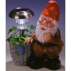 solar-light gnome with basket, Garden gnome, dwarf, gnome, garden figure, garden decorations, fairy tales, seven dwarfs, dwarf, garden gnome, decoration,