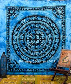 Beautiful Elephant Mandala screen printed tapestries bed cover with fringes at the border. This gorgeous piece of art can be used as: -Tapestry or