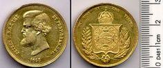 BRASIL. Moeda de ouro, 20.000 réis, 1853; muito possivelmente compatível com AMATO #673. SOB/FDC.