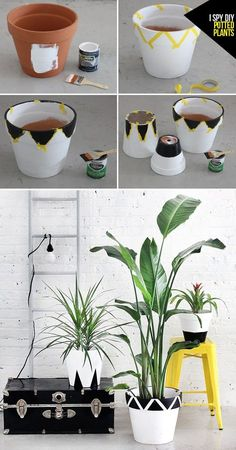 Idea Of Making Plant Pots At Home // Flower Pots From Cement Marbles // Home Decoration Ideas – Top Soop Painted Plant Pots, Painted Flower Pots, Flower Pot Crafts, Clay Pot Crafts, I Spy Diy, Decorated Flower Pots, Diy Décoration, Diy Planters, Plant Decor