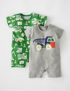I've spotted this @BodenClothing Twin Pack Summer Rompers Grey Marl/Tennis Green Diggers