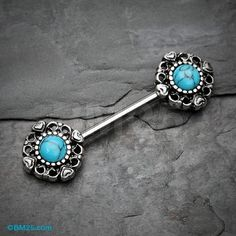 Heart Filigree Turquoise Nipple Barbell Ring