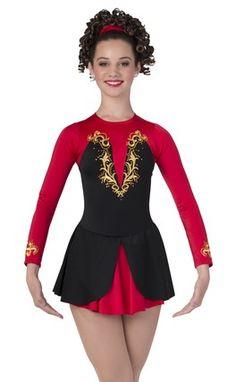 LADIES Celtic Lyrical DELUXE SHORT Irish DANCE dress with nylon sparkle sleeves