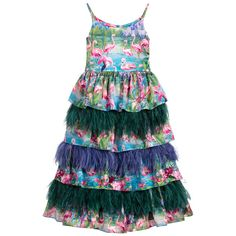 Silk Flamingo & Feather Dress for Girl by Aristocrat Kids. Discover more beautiful designer Dresses for kids online at Childrensalon.co.