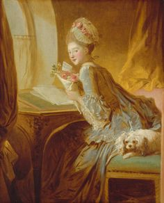 Jean-Honoré Fragonard (French, 1732–1806). The Love Letter, ca. 1770. The Metropolitan Museum of Art, New York. The Jules Bache Collection, 1949 (49.7.49) | It has not been possible to decipher the inscription on the card the woman holds in this painting, to identify the model, or to decide whether this famous canvas should be read as a portrait or a genre scene. #OneMetManyWorlds