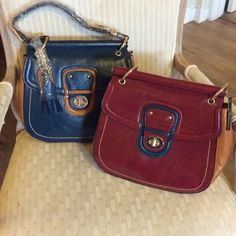 Liz Soto Bag Choice of blue/camel color or red/camel color bag. Both options come with a detachable strap to wear as cross body. Over the shoulder strap is not removable. Gold accents. Brand new retail. Inside has three sections with zipper. Still wrapped. Liz Soto Bags Shoulder Bags