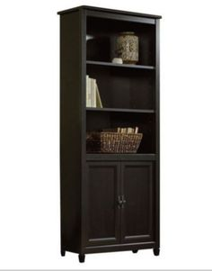 Contemporary Bookcase With Adjustable Shelves Home Office Furniture Estate Black