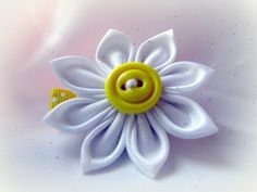 Lemon Yellow Hair Clip  Kanzashi Satin and by Sweetlittleblossoms
