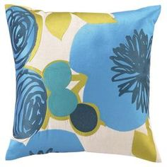 """Linen pillow with an embroidered floral motif.  Product: PillowConstruction Material: 100% Linen cover and feather down fillColor: Blue and multiFeatures: Insert includedDimensions: 20"""" x 20""""  Cleaning and Care: Spot clean only"""