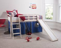 Cabin Bed Whitewash Mid Sleeper Bunk with Slide Blue Tent 6005 , http://www.amazon.co.uk/dp/B007K1FI2W/ref=cm_sw_r_pi_dp_iRbIrb1MDXPS1