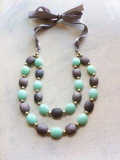 Aqua/Gray Ribbon Tie Necklace