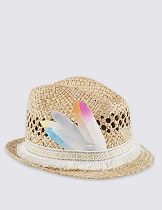 Feather Trim Straw Trilby Hat (5-14 Years) Clothing