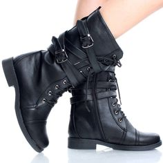 LIMITED EDITION. Black Punk Lace Up Round Toe Zipper Combat Womens Flat Mid Calf Boots