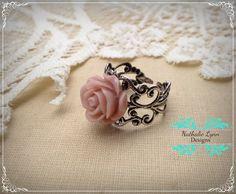 Pink Filigree Adjustable Rose Ring by nathalielynndesigns on Etsy, $7.00