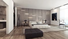 White Platform Bed Gloss Feature Wall