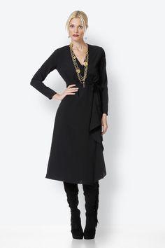 Black Dress Duster Coat, High Neck Dress, Skirts, Pants, Jackets, Black, Dresses, Style, Fashion