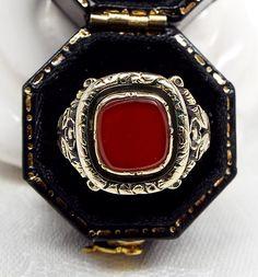 Antique Georgian Ornate 15ct Gold Carnelian Signet Ring / Size O