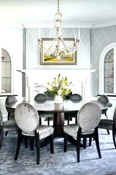 Traditional Dining Room White And Grey Dining Room Design, Pictures, Remodel, Decor and Ideas - page 2 Dining Room Design, Dining Room Furniture, Dining Chairs, Dining Room Wallpaper, Grey Wallpaper, Wallpaper Fireplace, Fireplace Wall, Fireplace Design, Estilo Interior