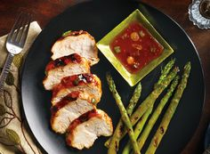 Kickin' Peach Chicken with Chargrilled Asparagus Recipe from #PublixAprons