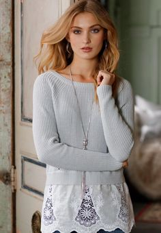 Replace your ordinary look with this lively mixed media sweater, featuring lace trim bordering the hemline for added feminine edge. #catofashions #sweaterweather