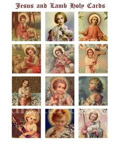 JESUS HOLY CARD Craft squares  Baby Jesus with by DigitalAlice
