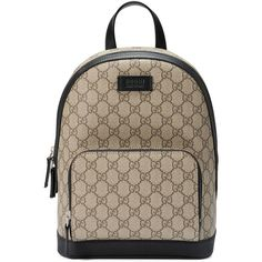Gucci Gg Supreme Small Backpack ($1,100) ❤ liked on Polyvore featuring bags, backpacks, bolsas, beige, leather zip backpack, gucci backpack, brown leather bag, beige backpack and real leather backpack